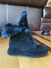 Vicini By Giuseppe Zanotti Black Suede Rabbit Fur Mukluks Boots Size 36.5 Italy.