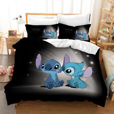 Lilo & Stitch 3D Design Bedding Set 3PC Of Duvet Cover Pillowcase Double King