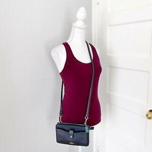 Coach Navy Blue Pebbled Leather Pop-Up Messenger Crossbody Bag Small Purse 13685