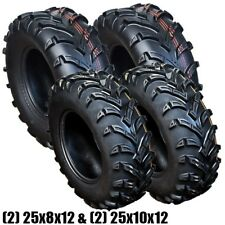 4 ATV Four Wheeler Front Rear Tire Set 25x8-12 & 25x10-12 6 Ply Tires Mud 6PR