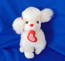 "Stuffed Dog White Poodle with a Heart ""I Love You"""