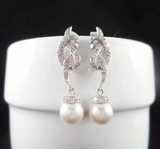 0.48CT DROP DANGLE ROUND PEARL BRIDAL DIAMOND EARRINGS IN 925S STERLING SILVER