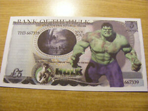 A Bank of the Hulk Novelty 5 Pounds note- very nice condition