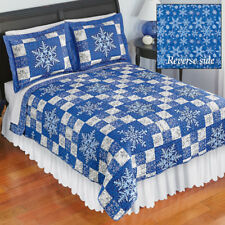 Beautiful Blue Christmas Snowflake Reversible King Size Patchwork Quilt