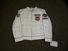 MARCIA COLLECTION  ITALY WHITE WITH RED  RACING CLUB LEATHER JACKET SIZE XL