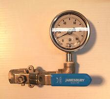 "Ashcroft 1008S Analog Pressure Gauge w/ Jamesbury 1/4"" Series 100 Ball Valve"