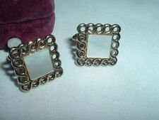 Handsome Gold Plated Mother Of Pearl Square Cufflinks In Gift Box
