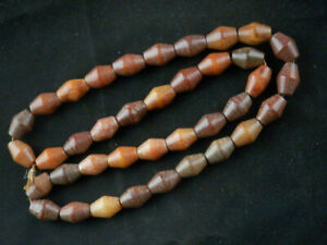 26 Inches Fine Chinese Old Jade Hand Carved Beads Prayer Necklace F117