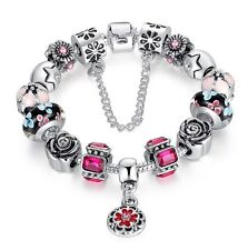 Luxury European Silver Charms Bracelet Chain Love Heart Bead Ajustable Gift Box
