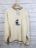 Cape Isle Knitters Sweater Mens Sz L Large Soft Cream Sailboat Cable Knit