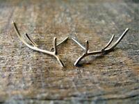 1 Pair Antler Deer Horn Ear Studs Silver Earrings Ear jacket Earring Jewelry