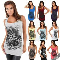 Womens Ladies Long Tunic Tank Top Muscle Lace Back Glitter Floral Print