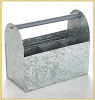 Galvanized Metal Utensil Caddy Holder Picnic Kitchen Organizer Craft Supplies