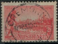 NSW POSTMARK  1934 CREMORNE CANCEL 2d VICTORIA CENTENARY ORANGE x 2 sg147