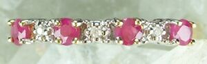 NEW Genuine Solid 9CT Yellow Gold Real Natural Ruby Diamond Eternity Ring Size M
