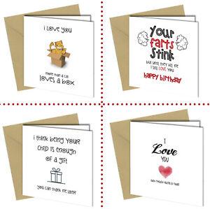 Funny Birthday Card for Boyfriend Husband Girlfriend Wife Adult Cheeky Rude