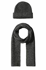 New 100% Cashmere Wool Scarf Beanie Watch Cap Knit Hat Black Gray $300
