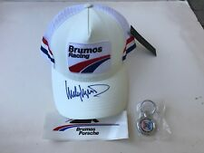 HURLEY HAYWOOD SIGNED BRUMOS PORSCHE RACING HAT/CAP,+KEY RING AND STICKER, NEW,