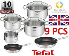 TEFAL DUETTO STAINLESS STEEL COOKWARE SET 9 PCS LID POTS 24 28 cm PANS KITCHEN