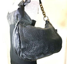 LANVIN Happy Flap Greyish Black Leather Large Hobo Shoulder Bag Italy