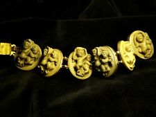 WONDERFUL ANTIQUE ITALIAN GRAND TOUR GILT DEEP LAVA CAMEO BRACELET CHERUBS c1870