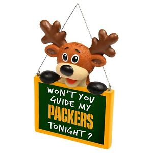 Green Bay Packers Reindeer with Sign - Resin Holiday Christmas Tree Ornament New