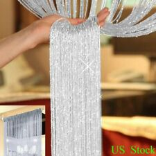 Tassel String Door Curtain Beads Window Panel Room Divider Crystal Fringe White