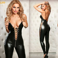 Catsuit PU Leather Costume PVC Wetlook Jumpsuit Clubwear Women Sexy Bodysuit