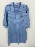 Peter Millar Polo Shirt Adult XL Blue Stripe Lightweight Golfer Golf Men