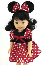 "Red and Black Mouse Dress Fits Wellie Wishers 14.5"" American Girl Clothes"
