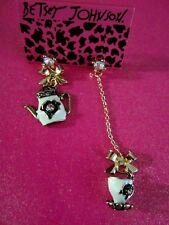 Betsey Johnson Black & White Tea Pot & Cup Dangle Earrings