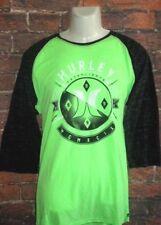 MENS HURLEY NEON GREEN BLACK RAGLAN T-SHIRT SIZE XL