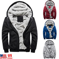 Plus Size Men's Winter Hooded Coat thick Fur Lined Zip Hoodie Jacket Sweatshirt