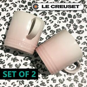 New Le Creuset Stoneware Set of 2 Coffee Mug 12 oz, 350 ml Shiny Shell Pink