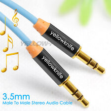 Premium Blue Gold Tipped Aux Cable Stereo Audio 3.5mm Input Cord Male to Male 1m