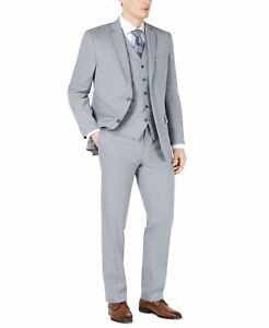 Marc New York Mens Suit Set Gray Size 48 Modern Fit Two-Button 3 Piece $425 #356