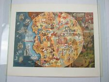 1950 Pageant of History Northern California Pictograph Millard Sheets Map Litho