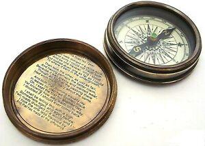 "3"" Robert Frost Poem Brass Compass Pocket Compass 1885 Pirates Collection"