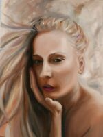 Woman face portrait Large painting Original