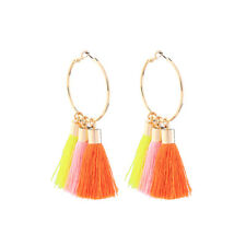 earrings Golden Creole Ring Pompom Long White Orange Coral Pink AA20