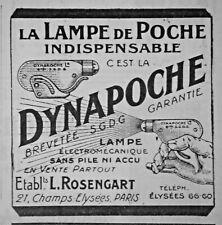 PUBLICITÉ DE PRESSE 1924 DYNAPOCHE LA LAMPE DE POCHE INDISPENSABLE - L.ROSENGART