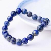 Natural Lapis Lazuli Bracelet Crystal Healing Stretch Bead Bangle Chain Jewelry