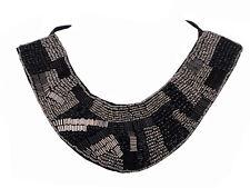 Tribal Ethnic Gunmetal Silver Black Beaded Collar Bib Necklace Jewelry Chic Gift