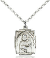 925 Sterling Silver Our Lady Virgin Mary Child Jesus Medal Necklace Pendant