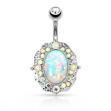 OPAL Centered with Jeweled Edges BELLY Button NAVEL RINGS Studs Piercing Jewelry