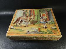 Antique Color Litho Cube Wood Block Puzzle Snowflake and the Seven Dwarfs