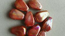 10 Chunky Marble Effected Beads 34 x 25mm Orange Red For Craft Jewellery Making