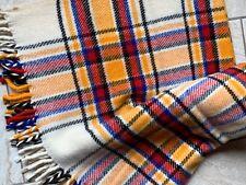 Vintage Nowesa Hand Woven Wool Tartan Throw Blanket Stadium Plaid 50x45 Fringed