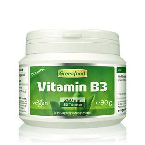 Greenfood Vitamin B3, flushfree, 250mg, hochdosiert, 180 Tabletten - vegan