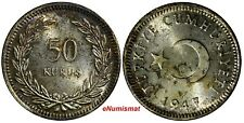 Turkey Silver 1947 50 Kurus UNC Nice Toned KM#  882